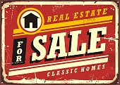Real estate for sale retro tin sign design layout