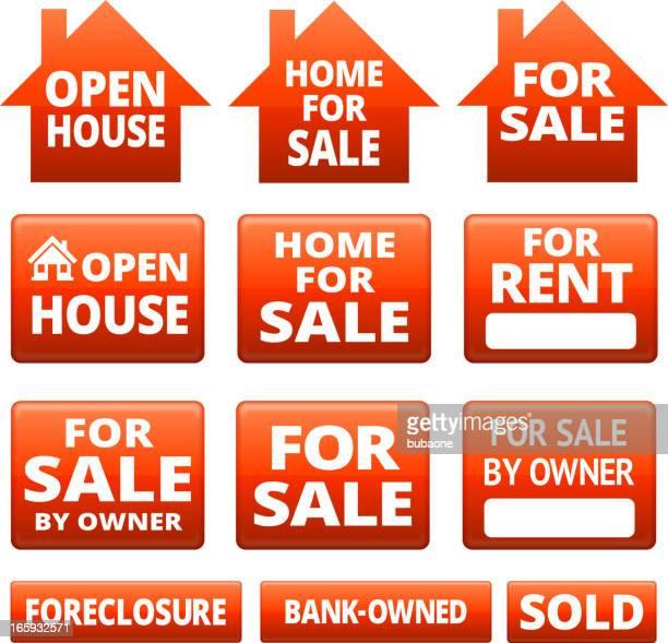 real estate for sale signs - subprime loan crisis stock illustrations