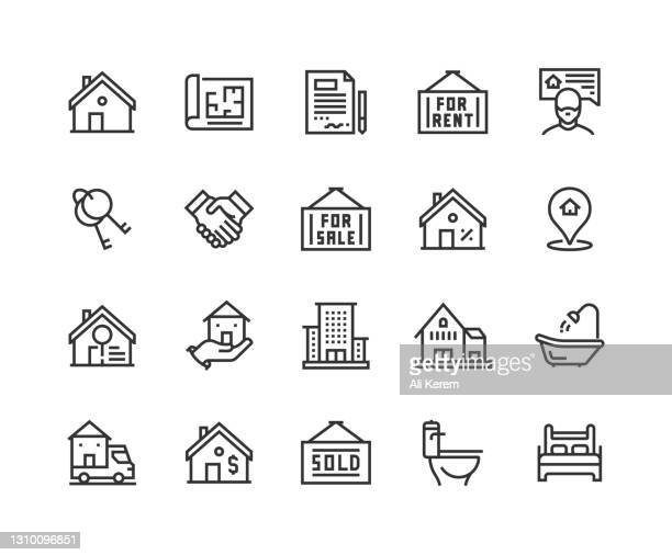 real estate, house, contract, mortgage, realtor icons - mortgage stock illustrations