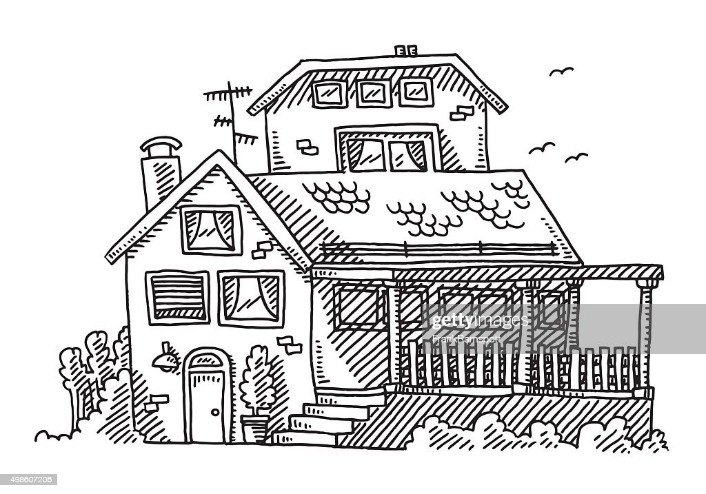 Real Estate House Drawing Vector Art