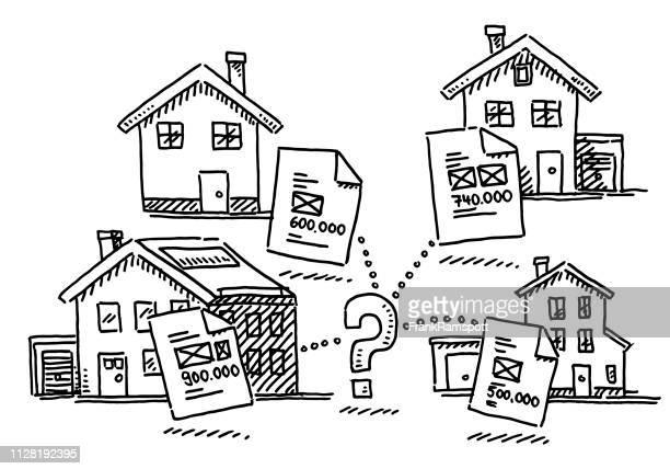 Immobilien-Haus-Markt aussetzen Entscheidung Konzept Zeichnung