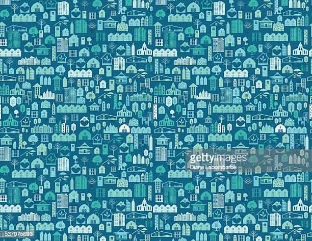 real estate houses background pattern - housing development stock illustrations