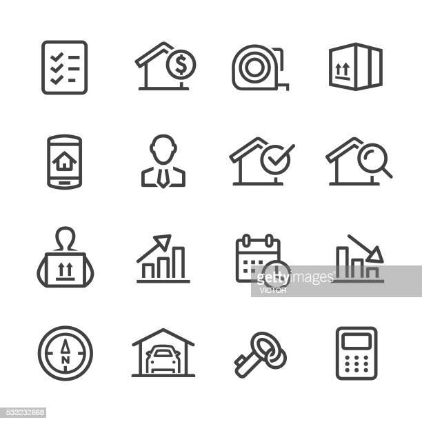 real estate icon - line series - tape measure stock illustrations, clip art, cartoons, & icons