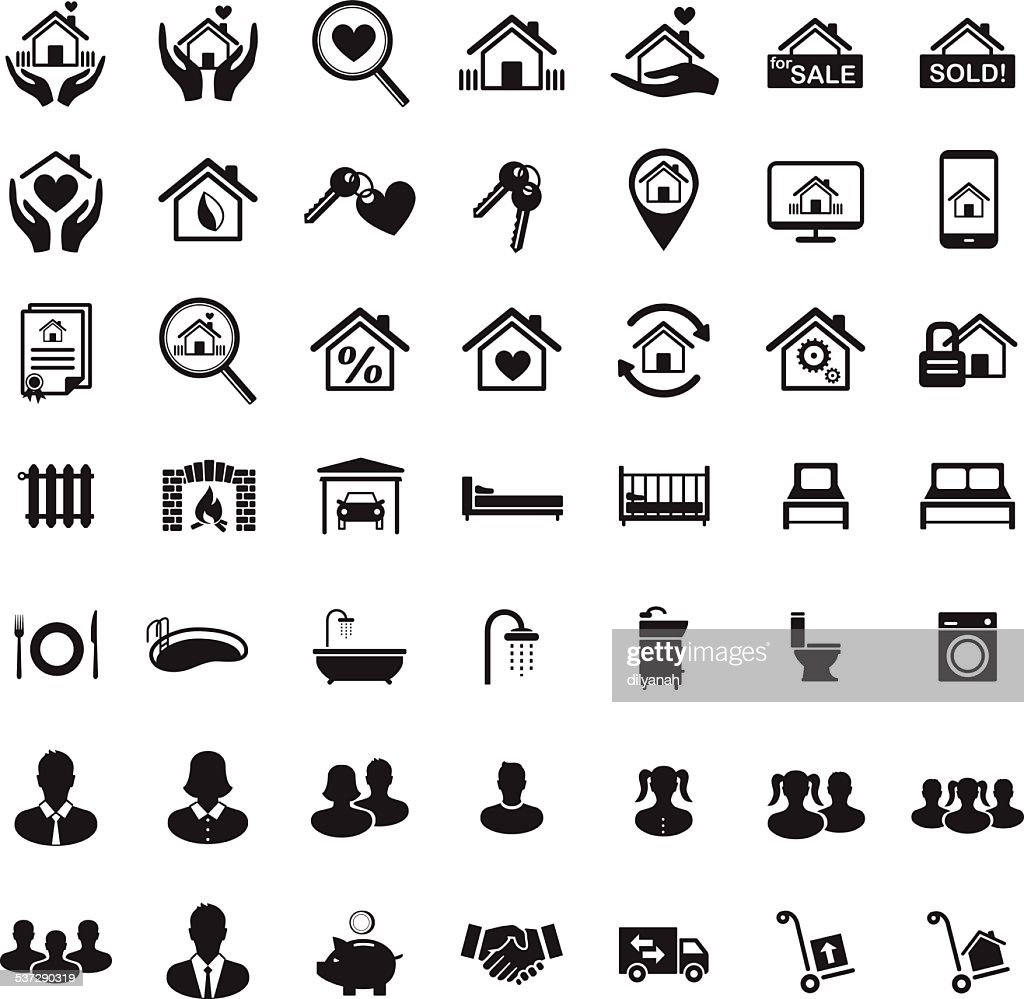 Real Estate icon set, Family home, house members