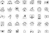 Real Estate icon set, Line , Minimalistic, Home