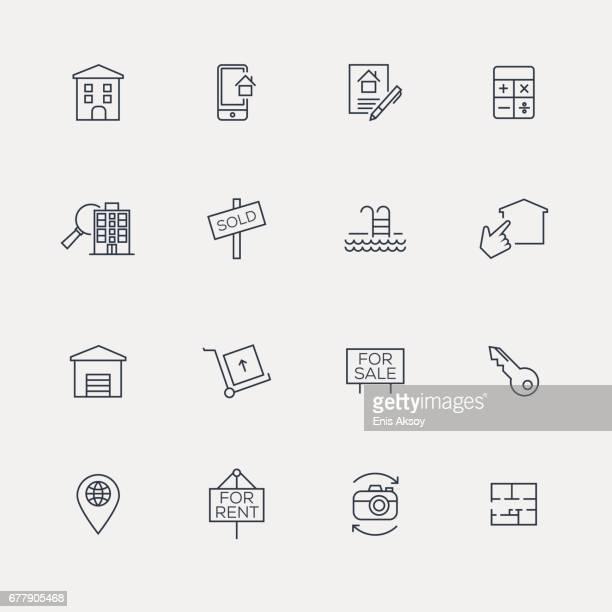 ilustraciones, imágenes clip art, dibujos animados e iconos de stock de conjunto de iconos de bienes raíces-line - propietario de casa