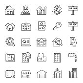 Real estate, icon set. Purchase and sale of housing, rental of premises, linear icons. Line with editable stroke