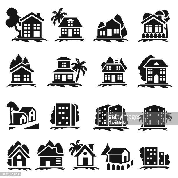 stockillustraties, clipart, cartoons en iconen met vastgoed pictogramserie - verblijfsoord