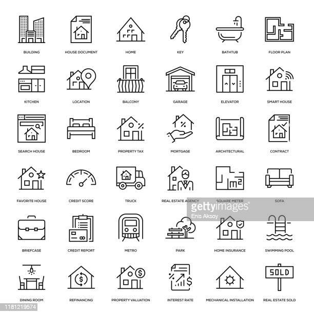 real estate icon set - domestic room stock illustrations
