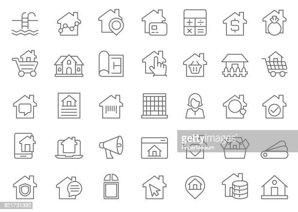 real estate icon set - house rental stock illustrations, clip art, cartoons, & icons