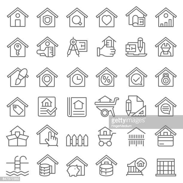 real estate icon set - legal document stock illustrations, clip art, cartoons, & icons
