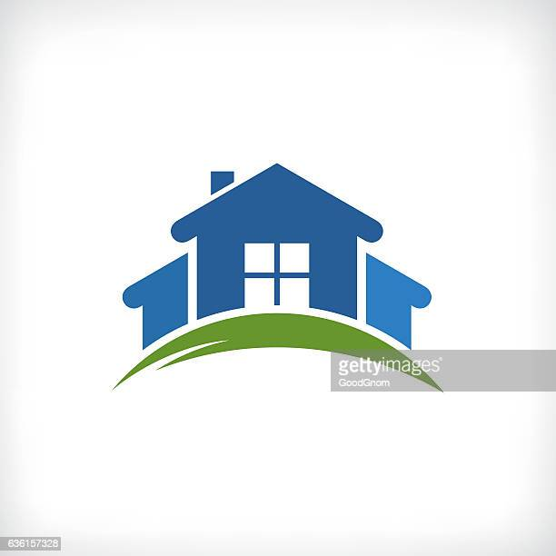 real estate icon - house exterior stock illustrations, clip art, cartoons, & icons