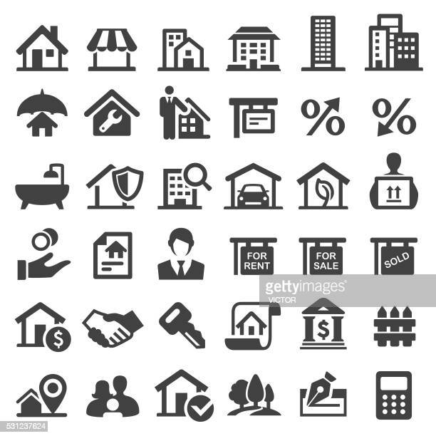 real estate icons - big series - legal document stock illustrations, clip art, cartoons, & icons