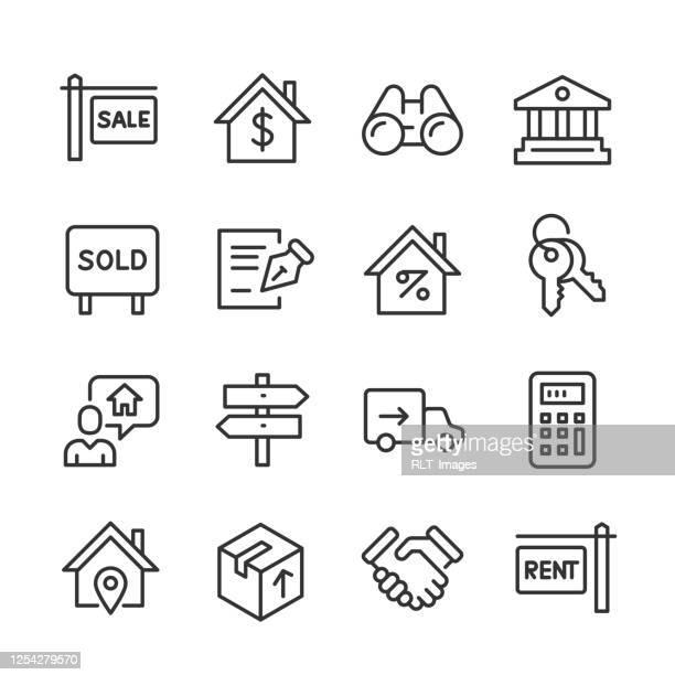 real estate icons — monoline series - mortgage document stock illustrations