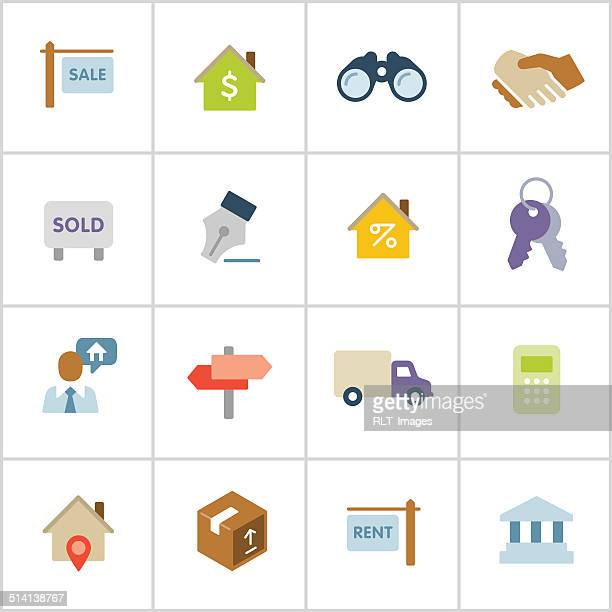 real estate icons — poly series - mortgage loan stock illustrations