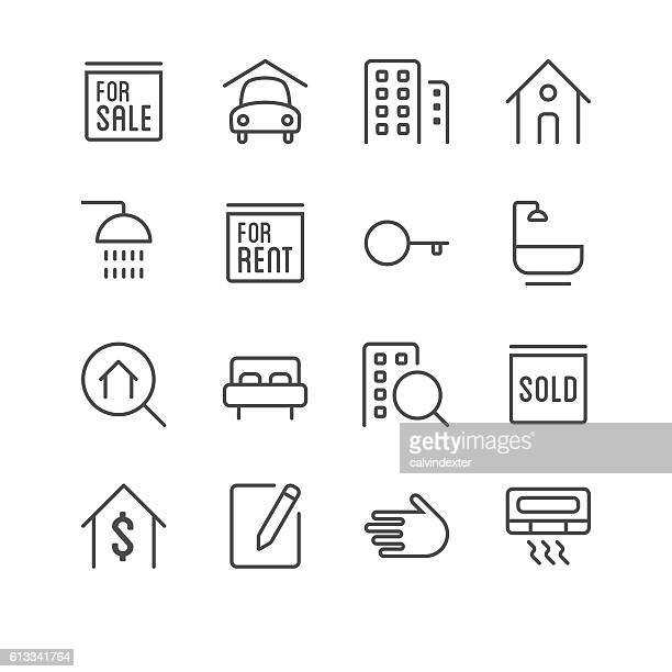 Real Estate icons set 1 | Black Line series