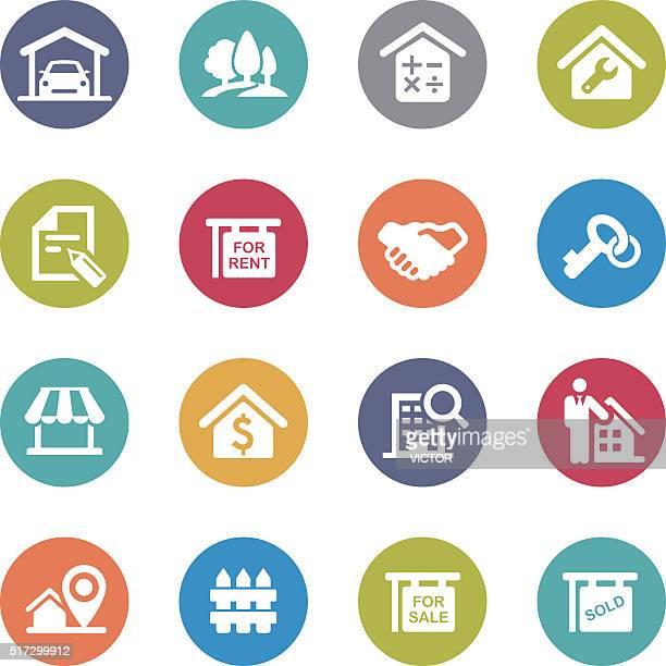 Real Estate Icons Set - Circle Series