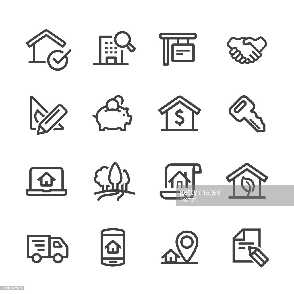 Real Estate Icons Set - Line Series : Stock Illustration