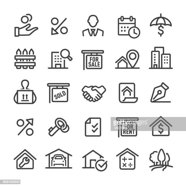 real estate icons - smart line series - estate agent sign stock illustrations