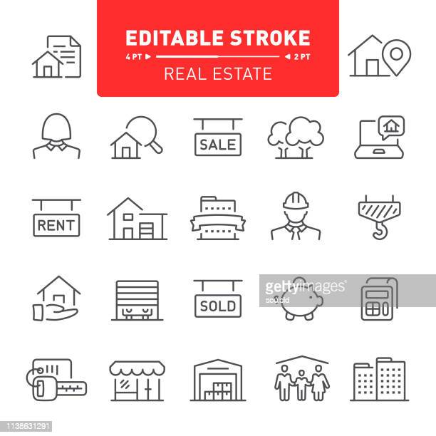 real estate icons - finance and economy stock illustrations