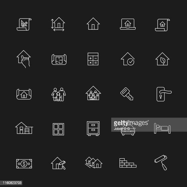 immobilien-ikonen - gewerbeimmobilie stock-grafiken, -clipart, -cartoons und -symbole