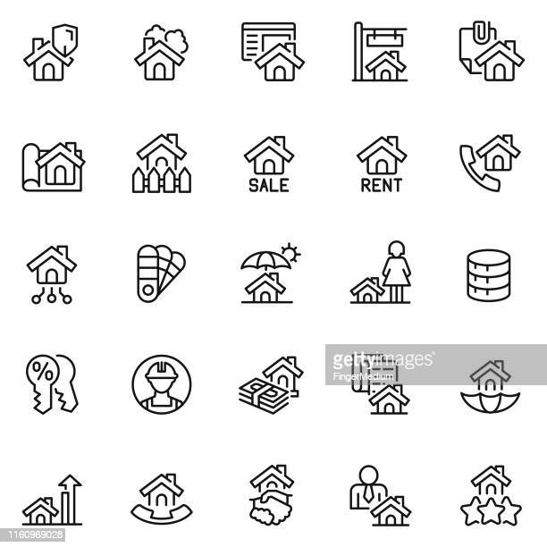 real estate icons - legal document stock illustrations, clip art, cartoons, & icons