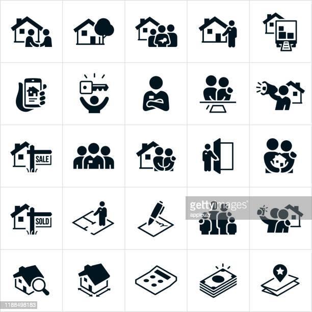 ilustraciones, imágenes clip art, dibujos animados e iconos de stock de iconos inmobiliarios - familia