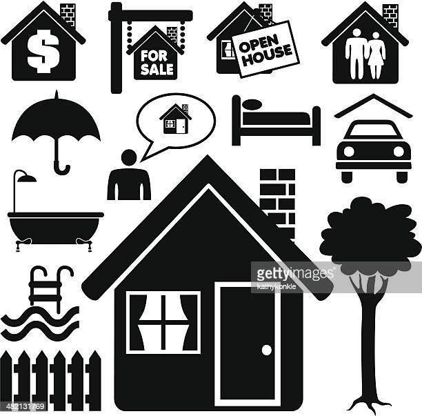 real estate icons - clip art stock illustrations, clip art, cartoons, & icons