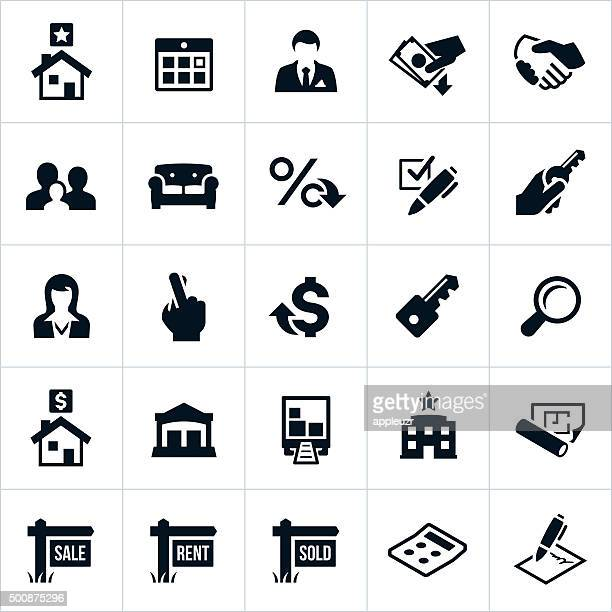 real estate icons - mortgage loan stock illustrations