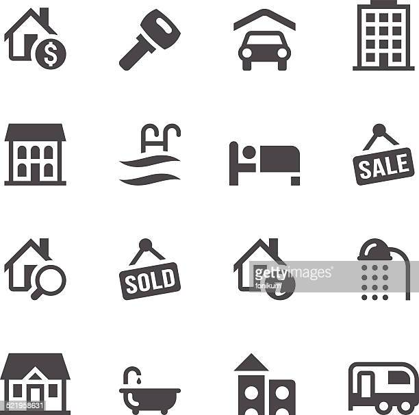 real estate icons - house rental stock illustrations, clip art, cartoons, & icons