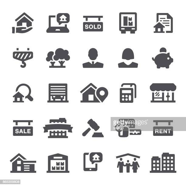real estate icons - new home stock illustrations, clip art, cartoons, & icons
