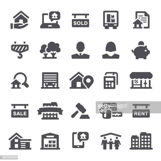 ilustraciones, imágenes clip art, dibujos animados e iconos de stock de íconos de inmobiliaria - propietario de casa