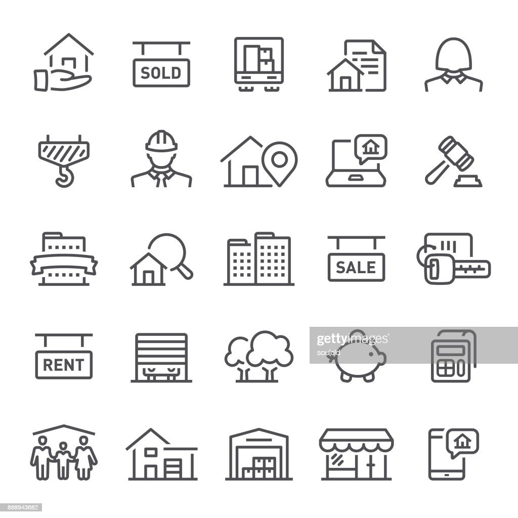 Real Estate Icons : Stock Illustration