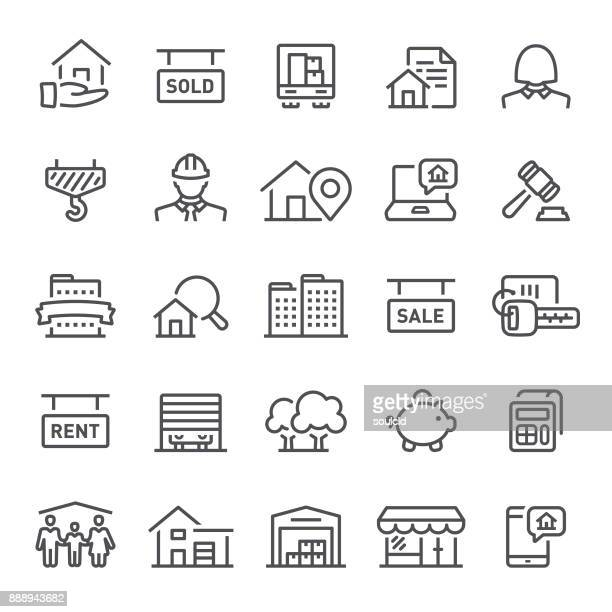 real estate icons - line art stock illustrations