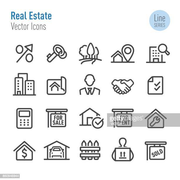 real estate icons - vector line series - house exterior stock illustrations, clip art, cartoons, & icons