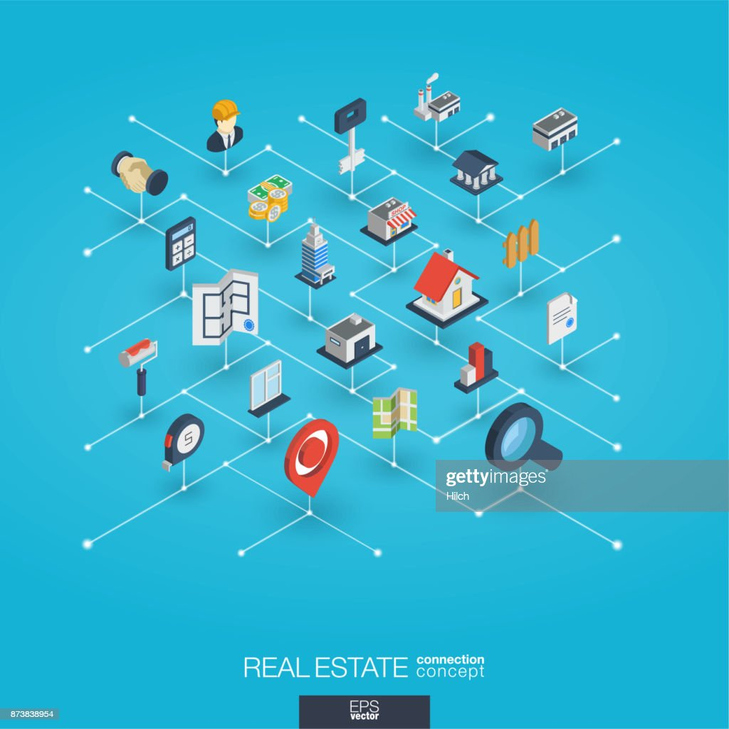 Real estate integrated 3d web icons. Digital network isometric concept.