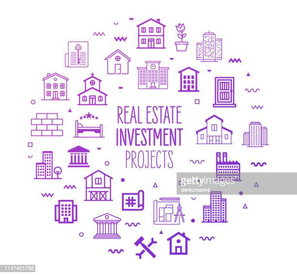 real estate investment projects outline style infographic design - housing development stock illustrations