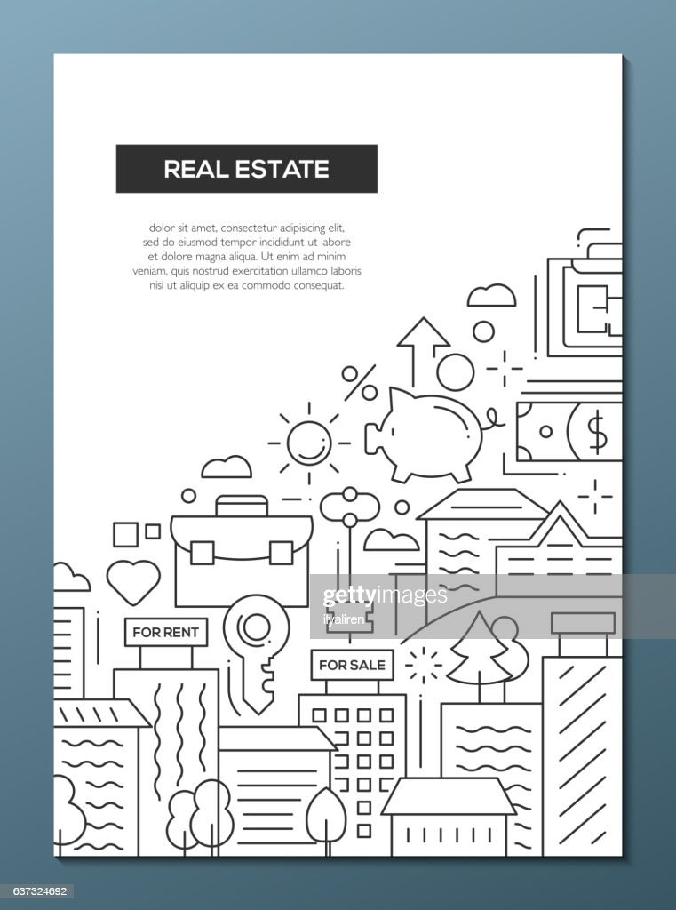 Real Estate - line design brochure poster template A4