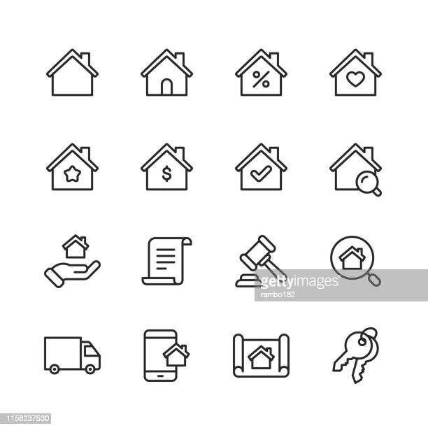real estate line icons. editable stroke. pixel perfect. for mobile and web. contains such icons as building, family, keys, mortgage, construction, household, moving. - home interior stock illustrations