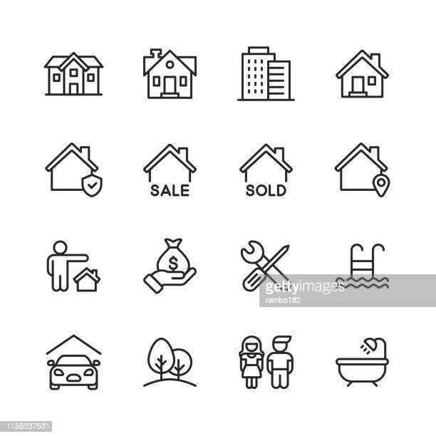 real estate line icons. editable stroke. pixel perfect. for mobile and web. contains such icons as building, family, keys, mortgage, construction, household, moving, renovation. - representing stock illustrations