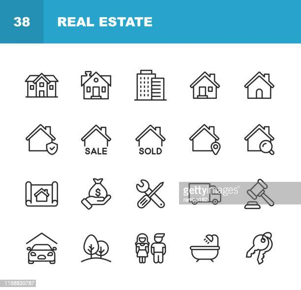 real estate line icons. editable stroke. pixel perfect. for mobile and web. contains such icons as building, family, keys, mortgage, construction, household, moving, renovation, blueprint, garage. - human settlement stock illustrations