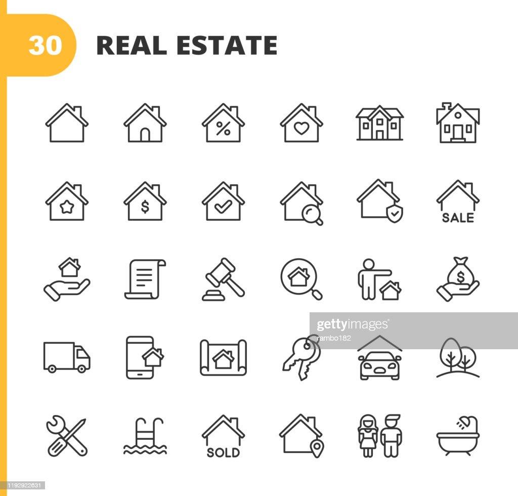 Onroerend goed lijn iconen. Bewerkbare lijn. Pixel perfect. Voor mobiel en Internet. Bevat dergelijke iconen als gebouw, familie, sleutels, hypotheek, bouw, huishouden, verhuizen, renovatie, blauwdruk, garage. : Stockillustraties