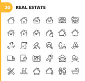 Real Estate Line Icons. Editable Stroke. Pixel Perfect. For Mobile and Web. Contains such icons as Building, Family, Keys, Mortgage, Construction, Household, Moving, Renovation, Blueprint, Garage.