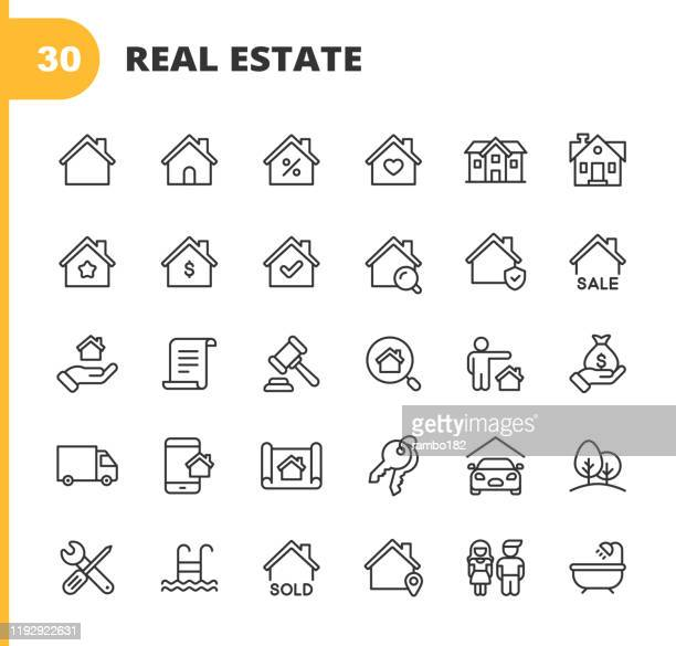 real estate line icons. editable stroke. pixel perfect. for mobile and web. contains such icons as building, family, keys, mortgage, construction, household, moving, renovation, blueprint, garage. - loan stock illustrations