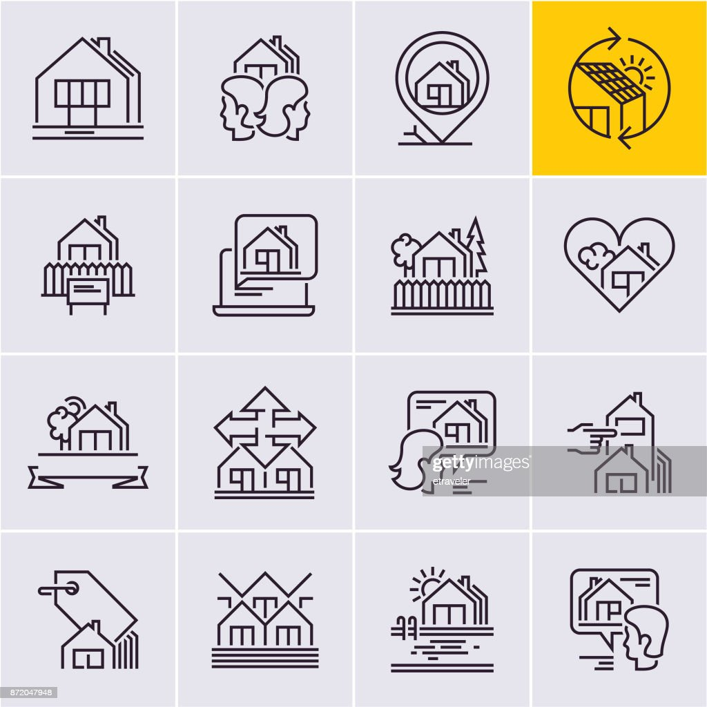real estate line icons set, house icon, home