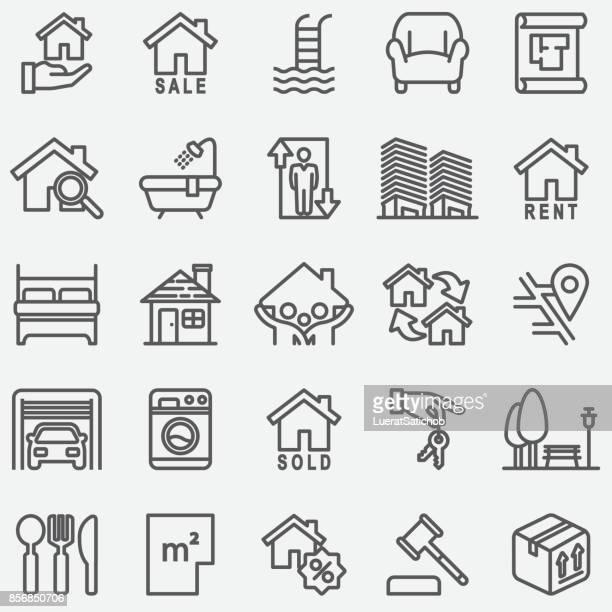 real estate line icons - house exterior stock illustrations, clip art, cartoons, & icons