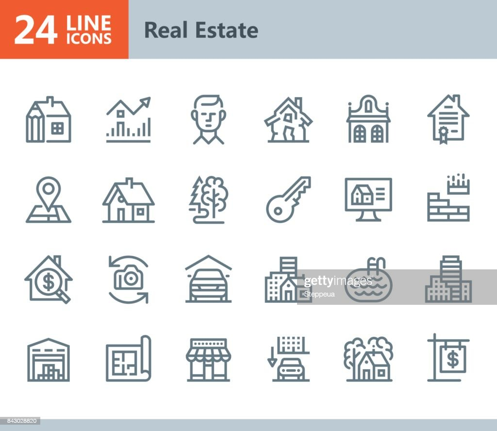 Real Estate - line vector icons : Stock Illustration
