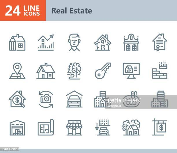 real estate - line vector icons - condition stock illustrations