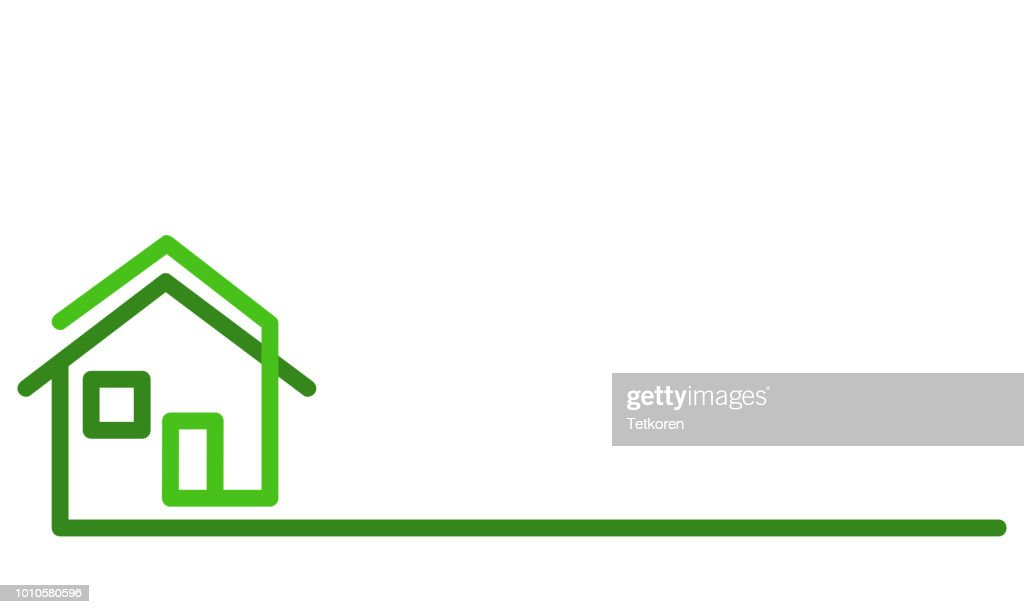 Real Estate Logo, green house on white, stock vector illustration