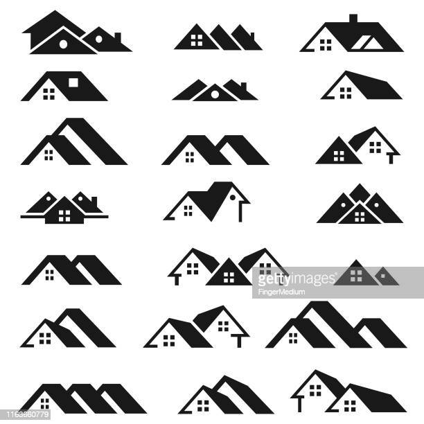 real estate logo - roof stock illustrations